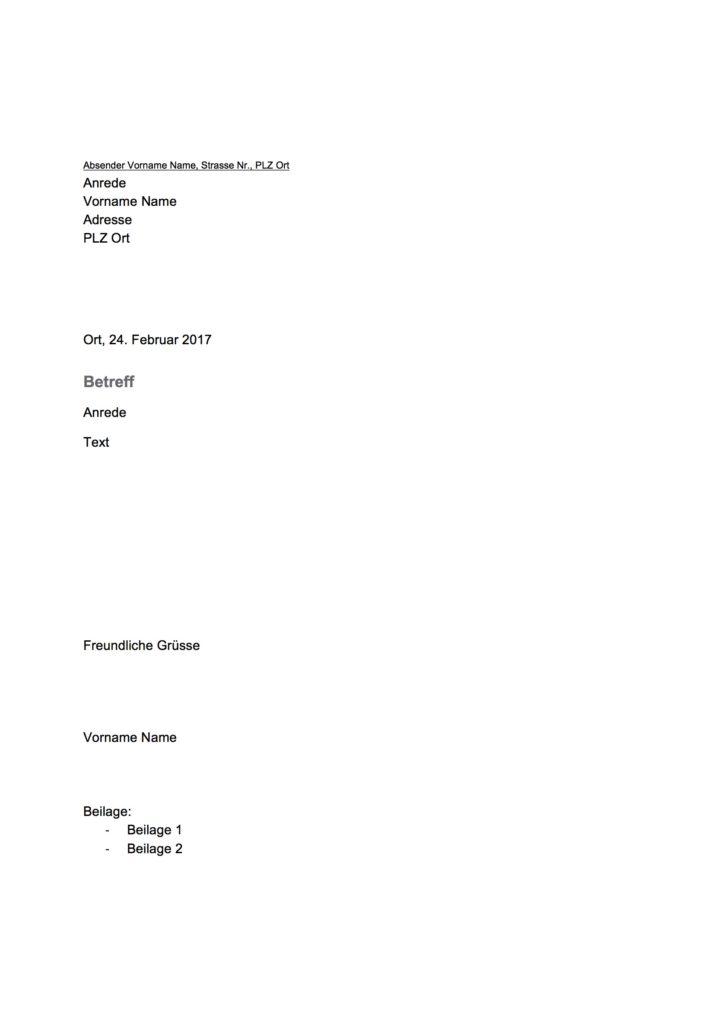 geschftsbrief vorlage schweiz word vorlage kostenlos - Geschaftsbrief Muster