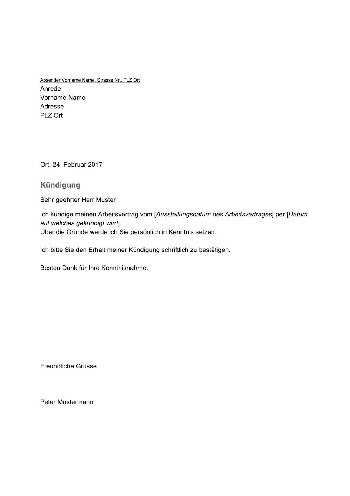kndigung vorlage schweiz word - Kundigung Arbeitsvertrag Muster Arbeitnehmer