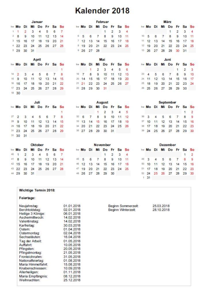 Kalender 2018 mit Kalenderwochen