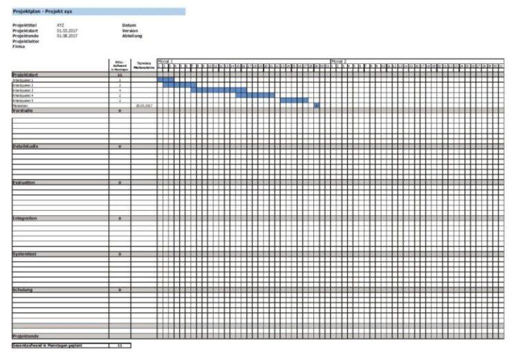 Vorlage Projektplan Excel