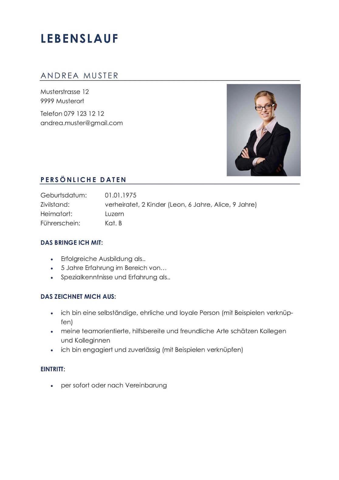Lebenslauf Vorlagen & Muster für die Bewerbung in der Schweiz