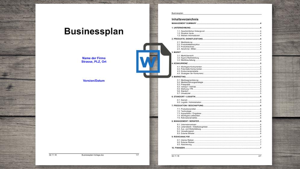 Business Plan Word Template | Businessplan Vorlage Schweiz Word Kostenloser Download