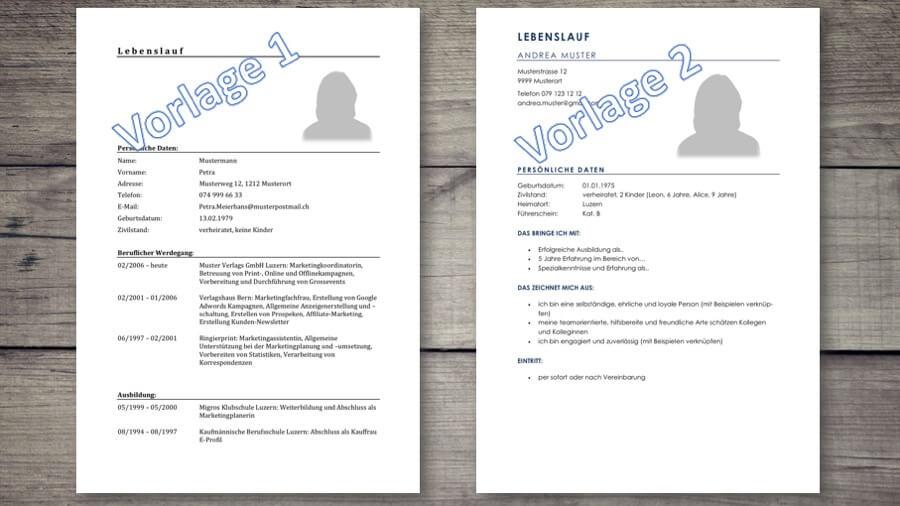 Lebenslauf Vorlage & Muster für deine Bewerbung (Schweiz) - gratis ...