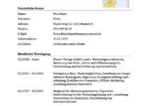 lebenslauf vorlage tabellarischer cv schweiz - Lebenslauf Schweiz