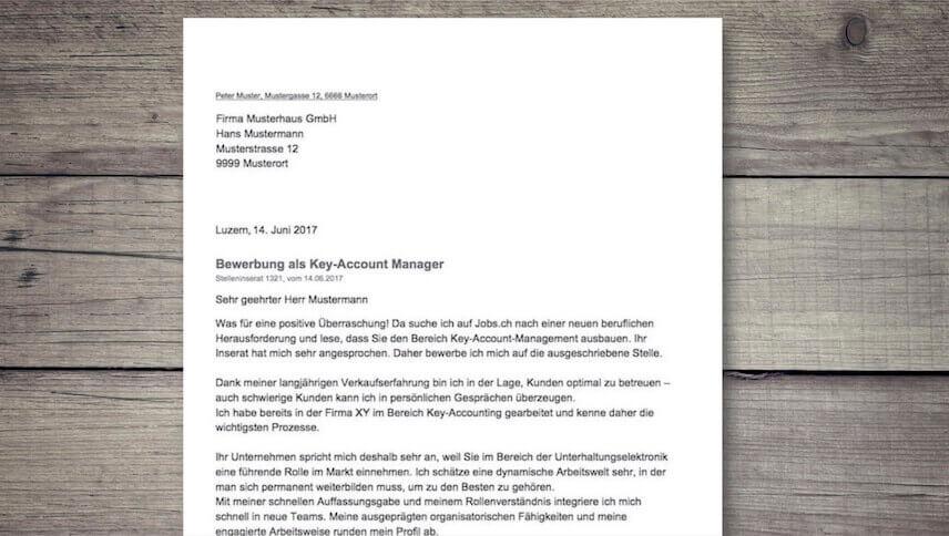 Bewerbungsschreiben Muster Vorlage Schweiz Kostenlos
