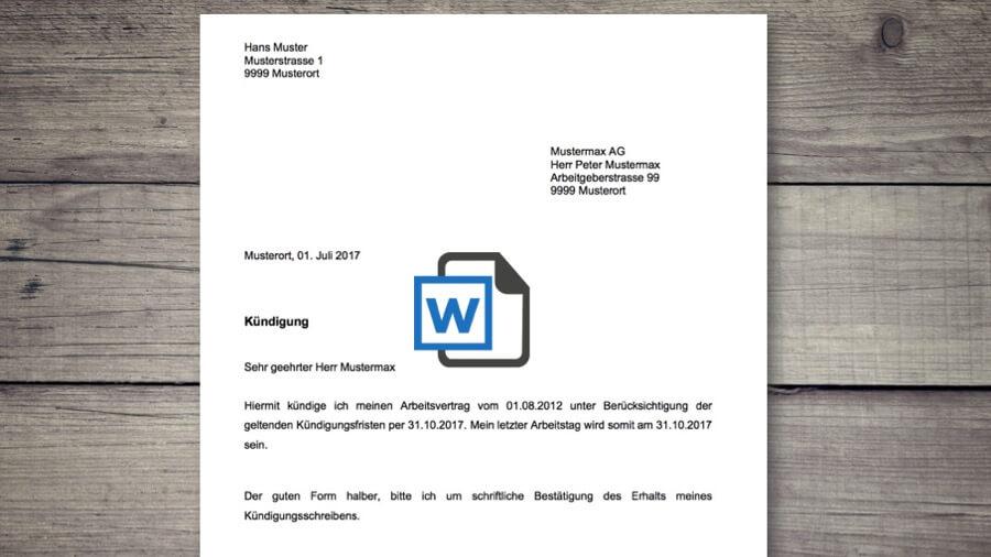 Kündigung Vorlage Für Arbeitsvertrag Schweiz Gratis Word Vorlage