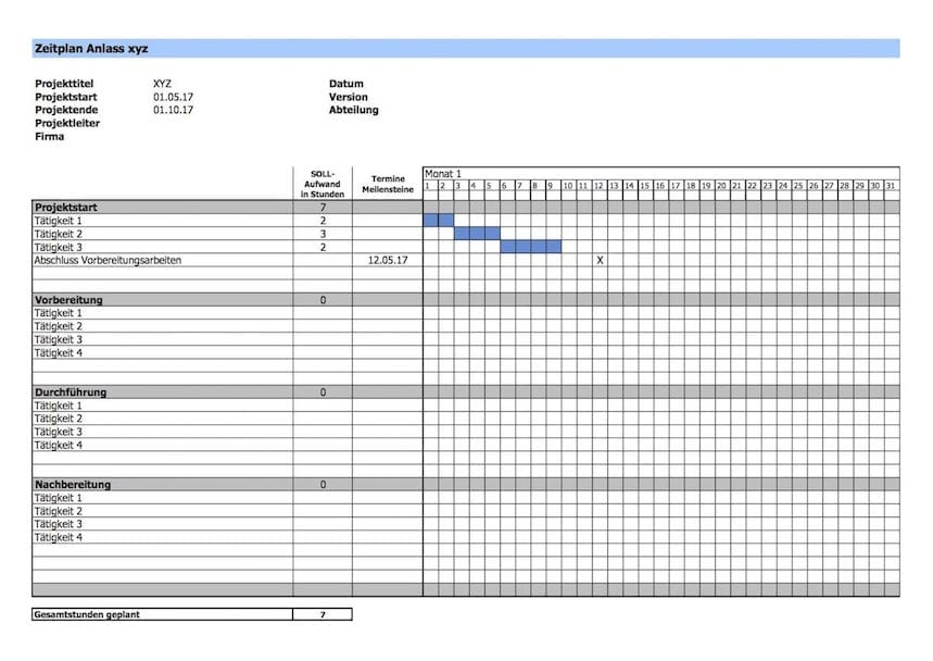 Projektplan Vorlage - GANTT Diagramm Excel