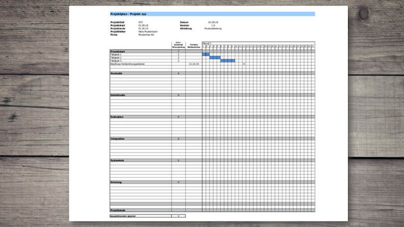Zeitplan Projektplan Vorlage
