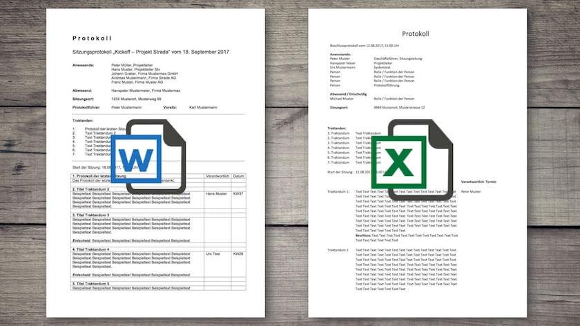 Protokoll Vorlage Word Excel Für Sitzungen Meetings Kostenlos