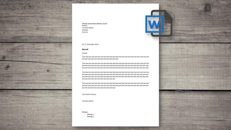 Briefvorlage Word (Schweiz)