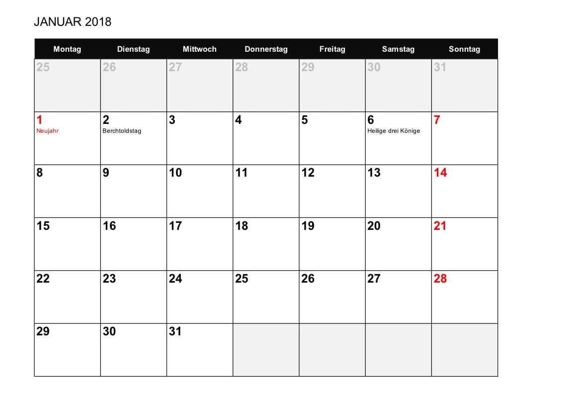 Kalender 2018 Schweiz Zum Ausdrucken