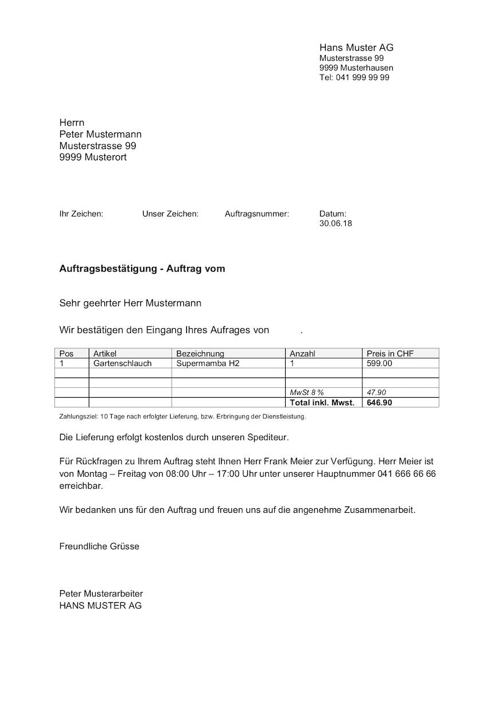 Auftragsbestätigung Vorlage Kostenlose Word Vorlage Schweiz