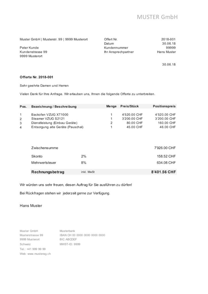 Offerte Vorlage Schweiz Excel