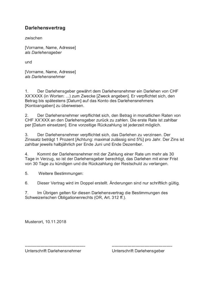 Darlehensvertrag Vorlage Schweiz