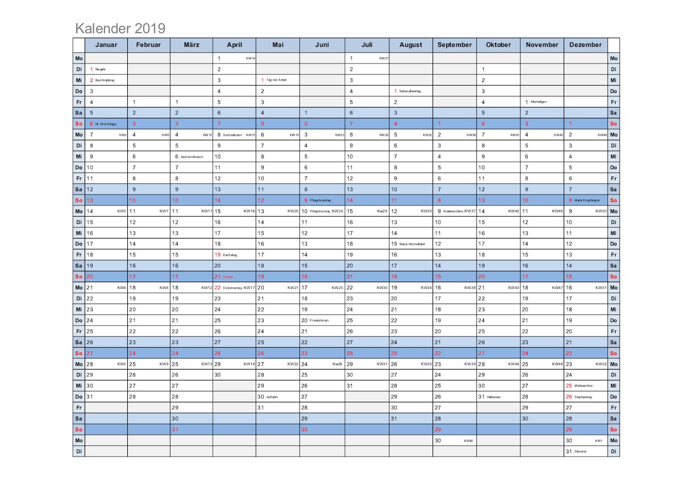 Kalender 2019 Excel Schweiz Mit Feiertagen Kostenloser Download