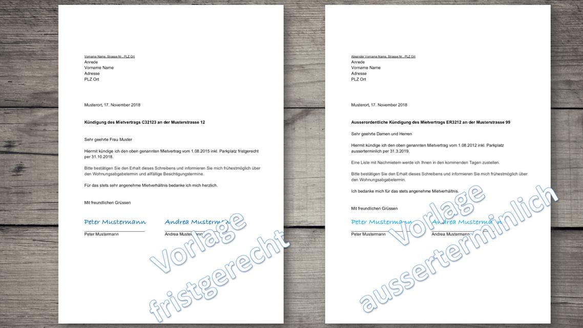 Kündigungsschreiben Wohnung Vorlage Schweiz Kostenlos Downloaden