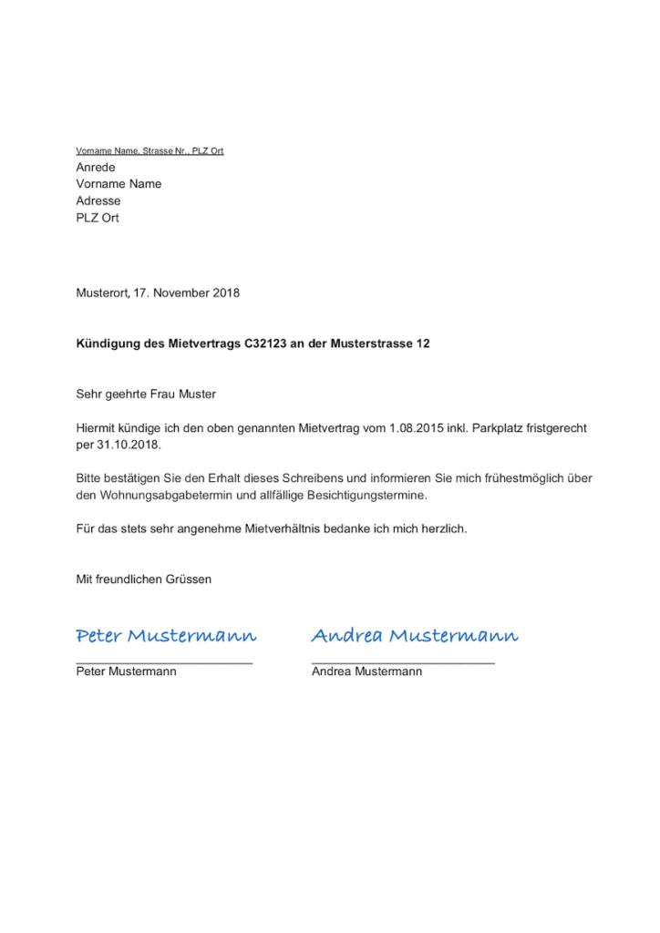 Kündigungsschreiben Wohnung fristgerecht (Schweiz)
