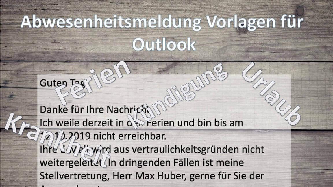 Abwesenheitsmeldung Vorlage Outlook
