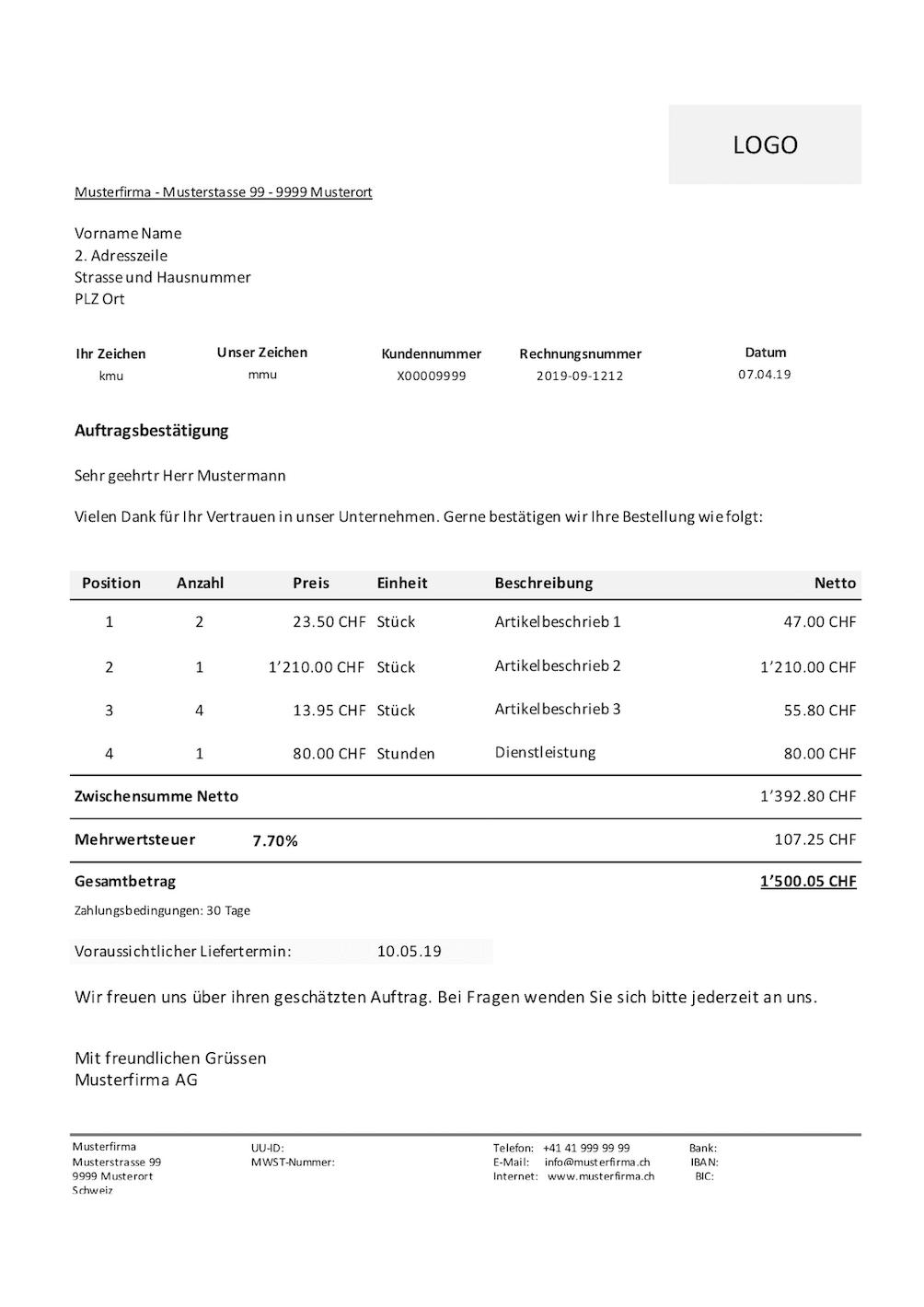 Auftragsbestatigung Vorlage Gratis Excel Und Word Vorlage Schweiz