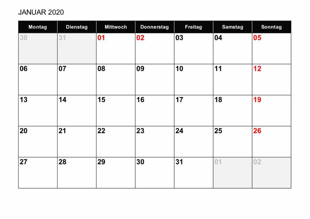 Monatskalender 2020 Schweiz Excel