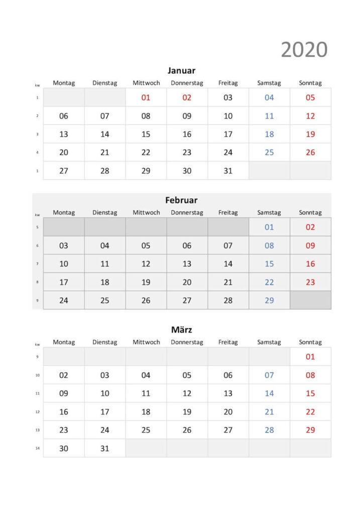 Quartalskalender 2020 Schweiz Excel