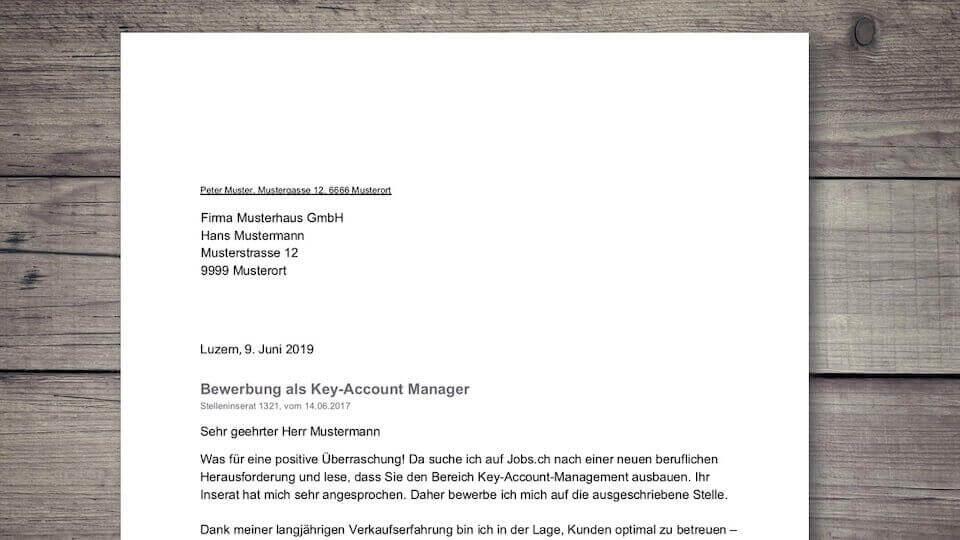 Bewerbungsschreiben Muster Vorlage Schweiz Kostenloser