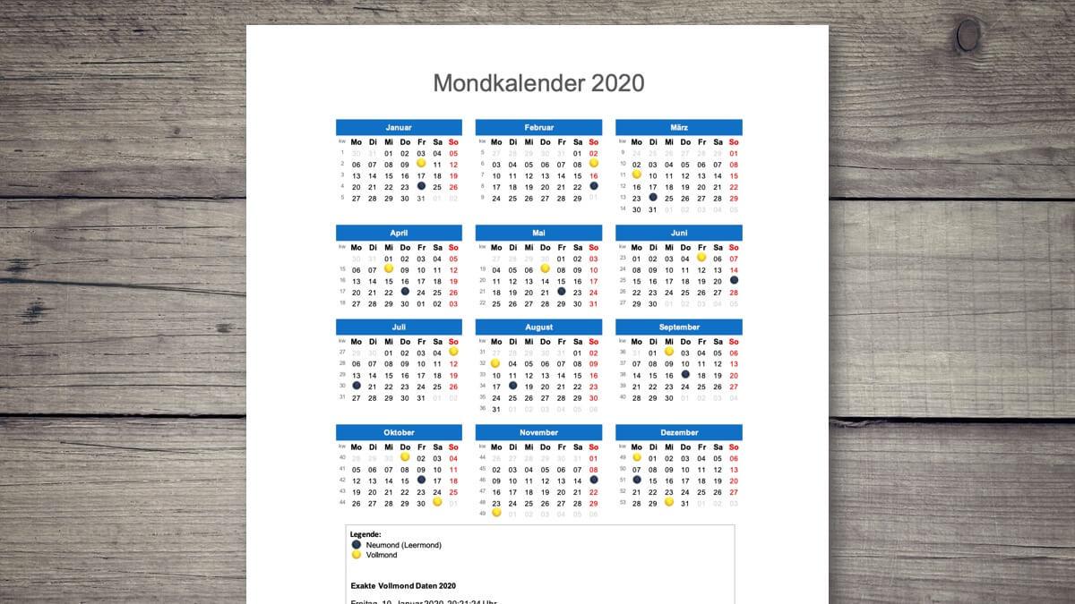 Mondkalender 2020 Schweiz