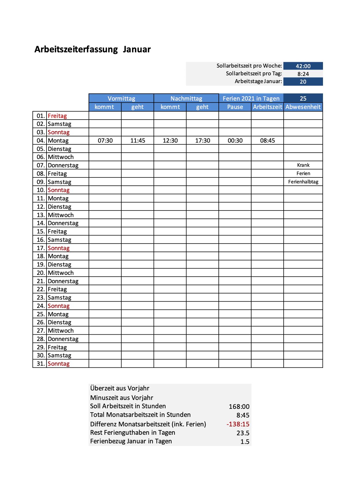 Zeiterfassung Excel Vorlagen Kostenlose Arbeitszeiterfassung Schweiz