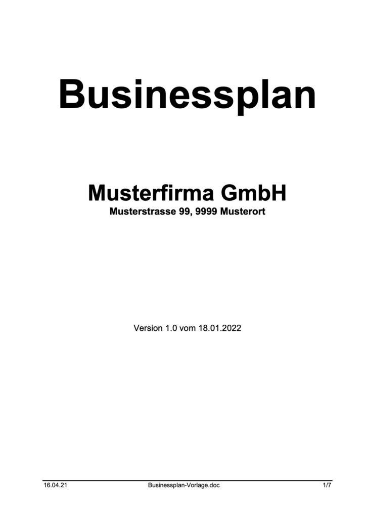 Businessplan Vorlage