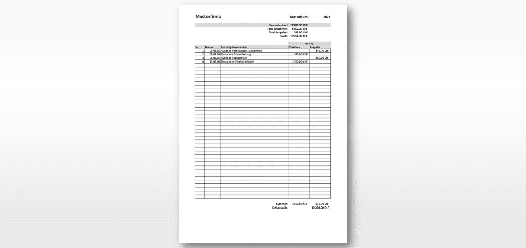 Kassenbuch Vorlage