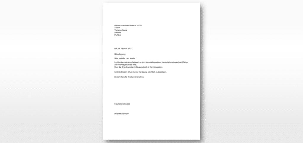Kündigungsschreiben Vorlage